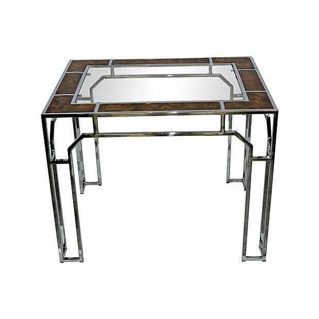 Milo Baughman-Style Chromed Steel & Burlwood Table - Image 1 of 5