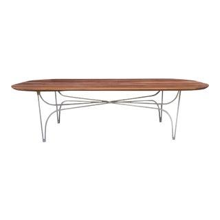 Custom Walnut & Metal Racetrack Coffee Table For Sale