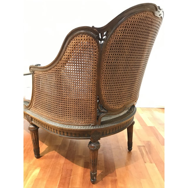 Louis XVI Style European Mahogany Carved Blind Cane Chaise For Sale - Image 6 of 11