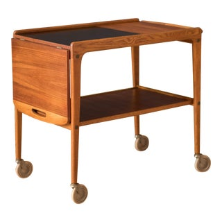 Vintage Scandinavian Teak Drop-Leaf Bar Cart by Yngve Ekström For Sale