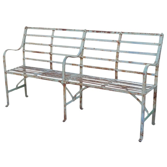Slatted Iron Bench For Sale