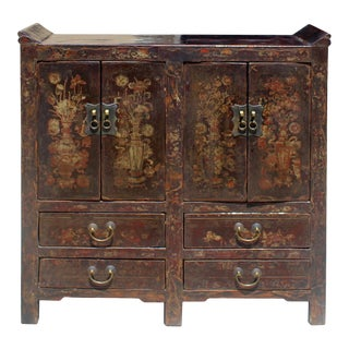 Chinese Distressed Dark Brown Vintage Graphic Tall Credenza Cabinet For Sale