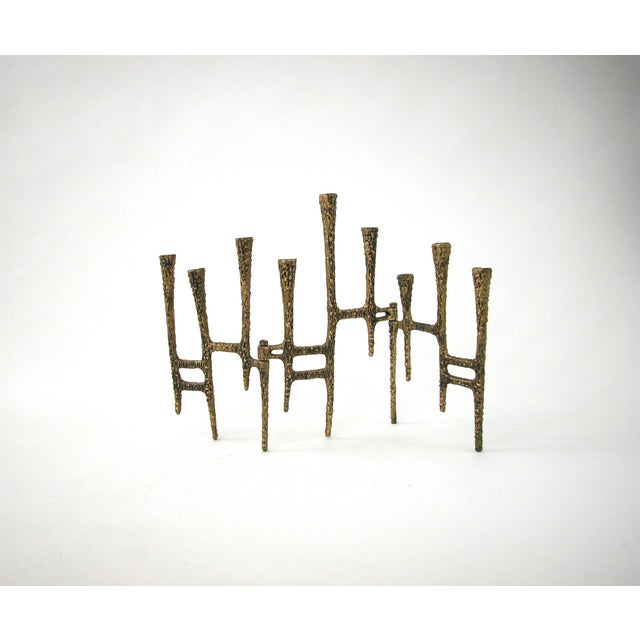 Brutalist Brass Trifold Menorah - Image 2 of 8