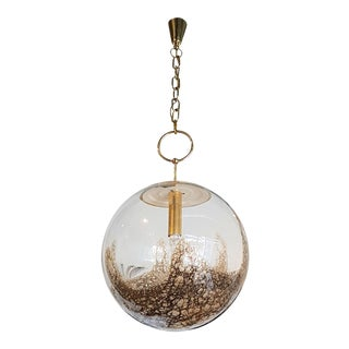 Pair of large mid century modern La Murrina globebrass mounts chandeliers