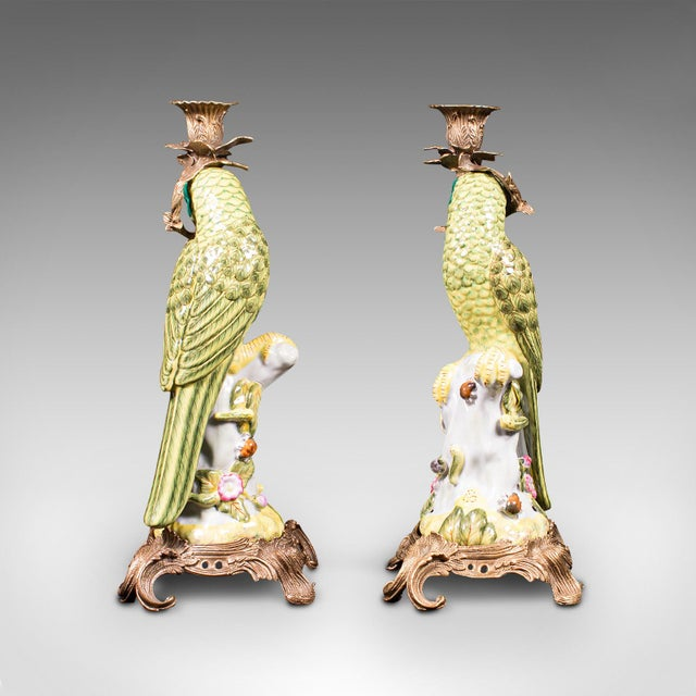 1980s 1980s Ceramic Oriental Decorative Candlesticks - a Pair For Sale - Image 5 of 13