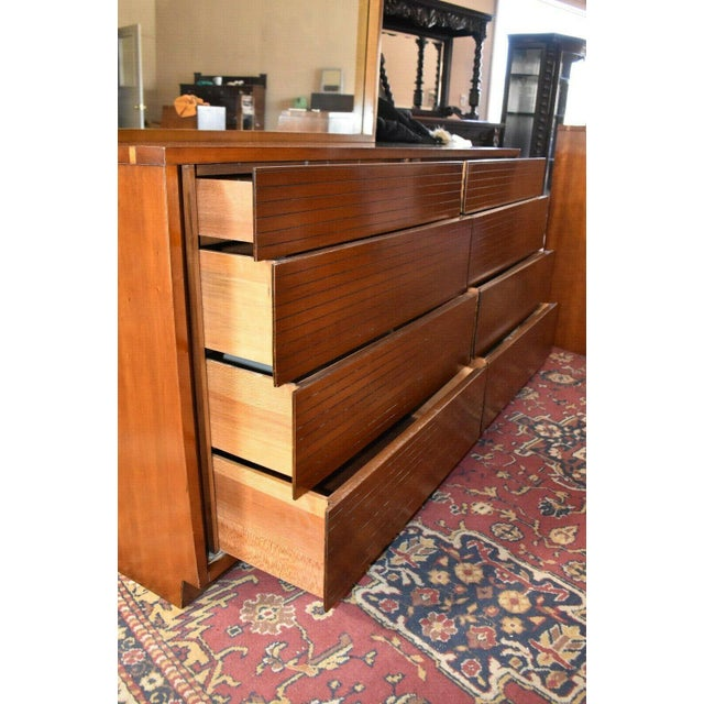 1952 Heritage Henredon Mid Century Cherry Dresser and Mirror For Sale - Image 10 of 11