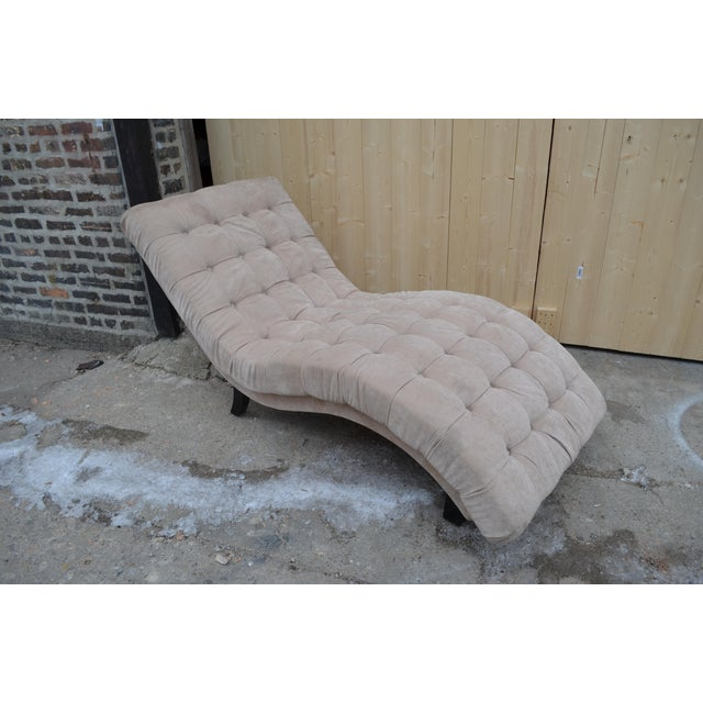 Contemporary Ivory Tufted Chaise Lounge Chair For Sale - Image 10 of 10