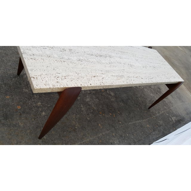 1950s Mid-Century Modern Gio Ponti for Singer & Sons Travertine Coffee Table For Sale - Image 9 of 13