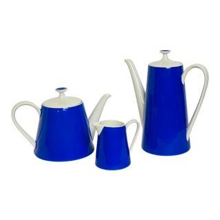 1950s Vintage Fairwood-Schonwald Blue Porcelain Coffee and Tea Set – Set of 3 For Sale