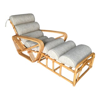 Restored 2 Piece Four-Strand Square Pretzel Rattan Chaise Lounge For Sale