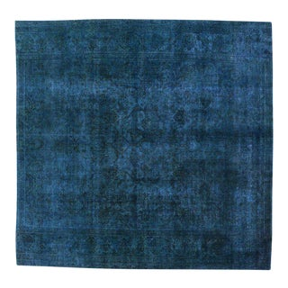 Distressed Blue Overdyed Vintage Persian Rug, Large Square Rug