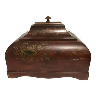 Vintage Chinese Asian Red Lacquer Box Vessel Urn For Sale
