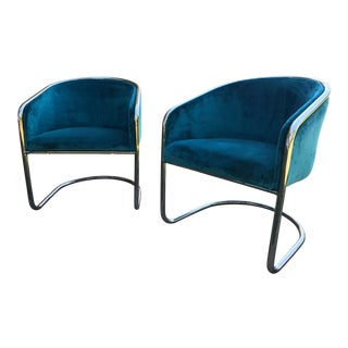 1960s Vintage Anton Lorenz for Thonet Cantilevered Chrome Barrel Back Club Chairs - A Pair For Sale