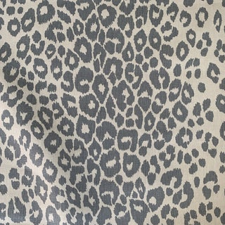 Schumacher Blue Iconic Leopard Linen Fabric- 3/4 Yard For Sale