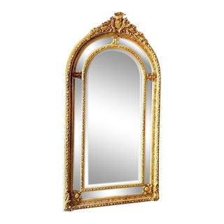 Gold French Louis XVI Style Floor Mirror For Sale
