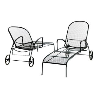 Vintage Black Wrought Iron Chaise Lounge Chairs by Woodard - a Pair For Sale