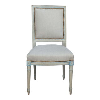 Reupholstered Linen Side Chair For Sale