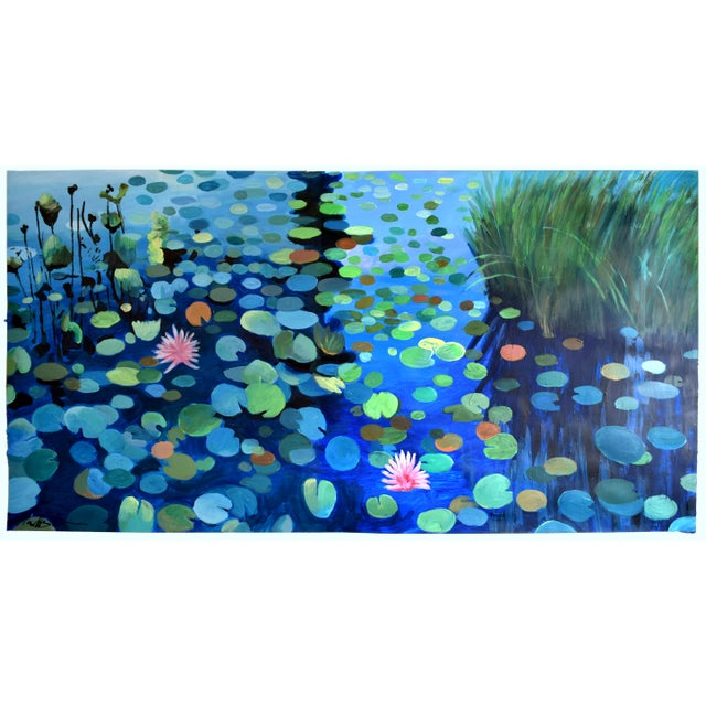 Large Waterlily Sunset Acrylic Painting - Image 7 of 7