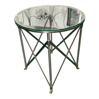 1970s Brass & Steel Glass Top Accent Table For Sale