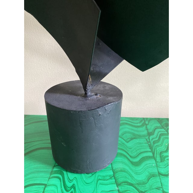 Abstract Vintage Abstract Black Metal Sculpture For Sale - Image 3 of 7