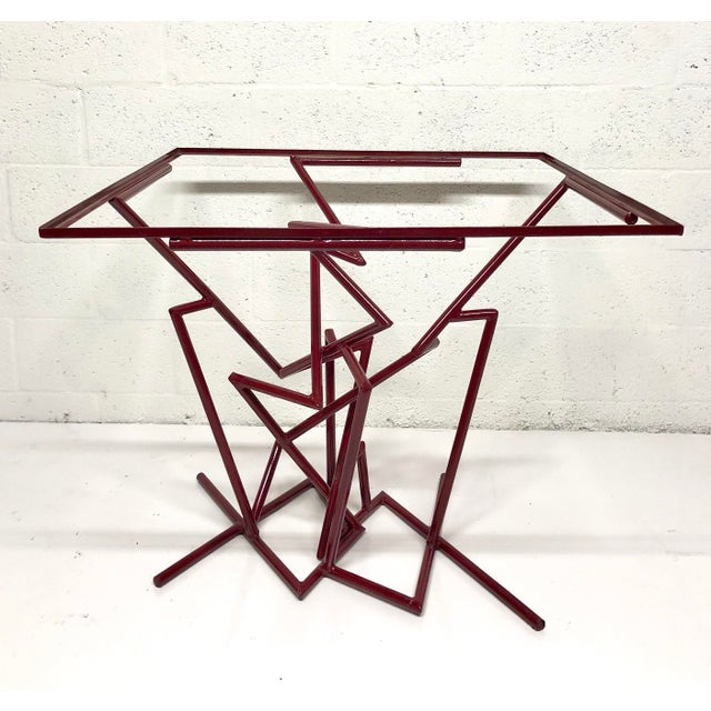 1970s Sculptural Enamel Metal Post Modern Table For Sale - Image 5 of 9