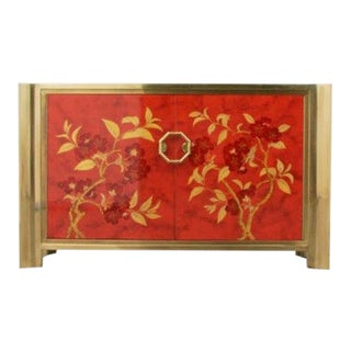 Mastercraft Chinoiserie Style Faux Tortoise Commode With Red Lacquer Interior For Sale
