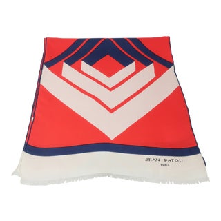 Jean Patou 1960's Red, White & Blue Silk Scarf For Sale