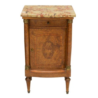 19th Century Empire Burl Walnut Marquetry Marble Top Antique Bedside Cabinet or Side Table For Sale