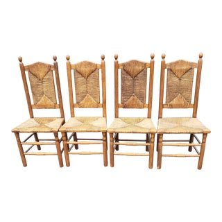 Vintage Mel Smilow French Country Style Woven Rush Accent Chairs - Set of 4 For Sale