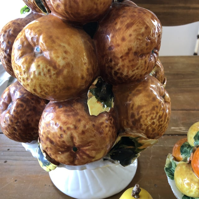 1970s Italian Fruit Orange and Lemon Topiaries With Marble Fruits - 4 Piece Set For Sale - Image 5 of 7