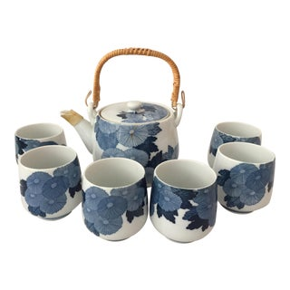 Vintage Japanese Teapot and 6 Cups - 7 Pieces For Sale