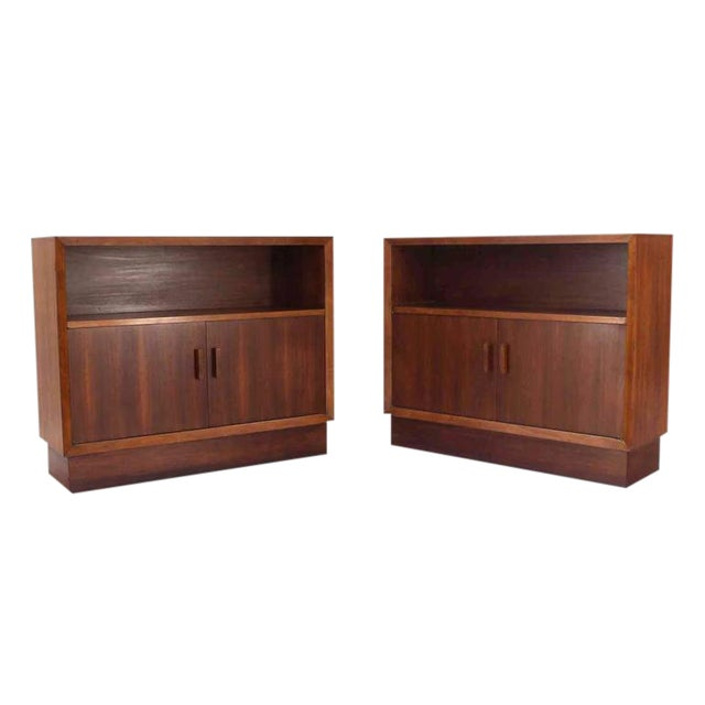 Vintage Mid-Century Walnut Two-Door Cabinets - A Pair For Sale - Image 10 of 10