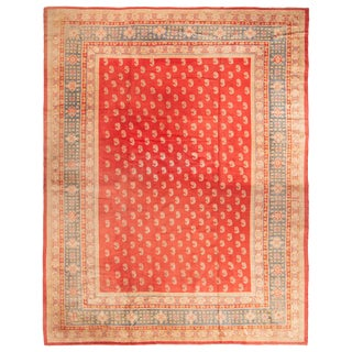 Antique Oushak Red and Beige Wool Rug with Paisleys For Sale