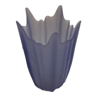 Satin/Translucent Glass Viking Purple Vase For Sale