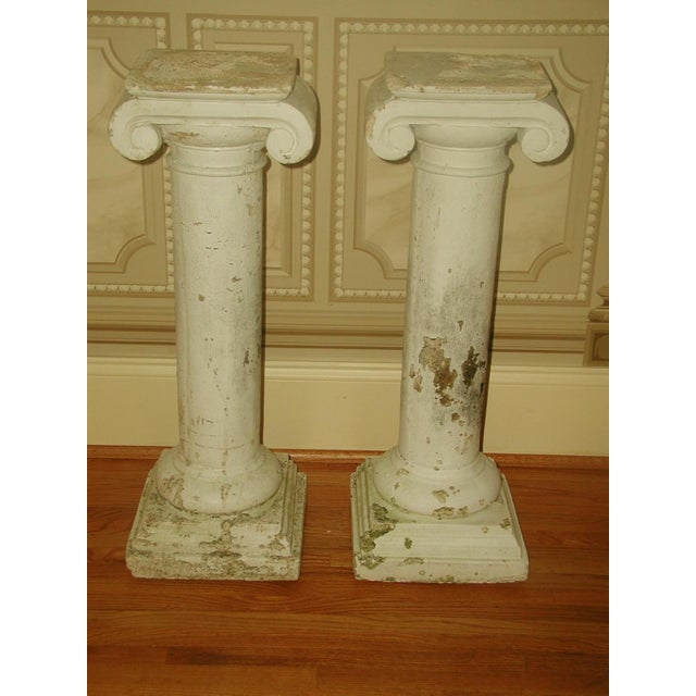 Pair of plaster neoclassical columns with good weight for architectural interest or adding planters, urns or art sculpture...
