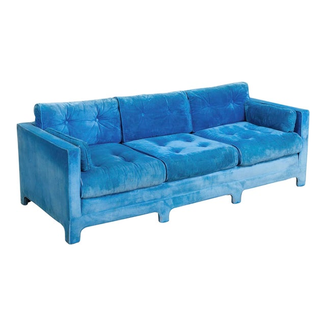 Mid Century Blue Velvet Upholstered Three-Seat Sofa Couch 1970s For Sale