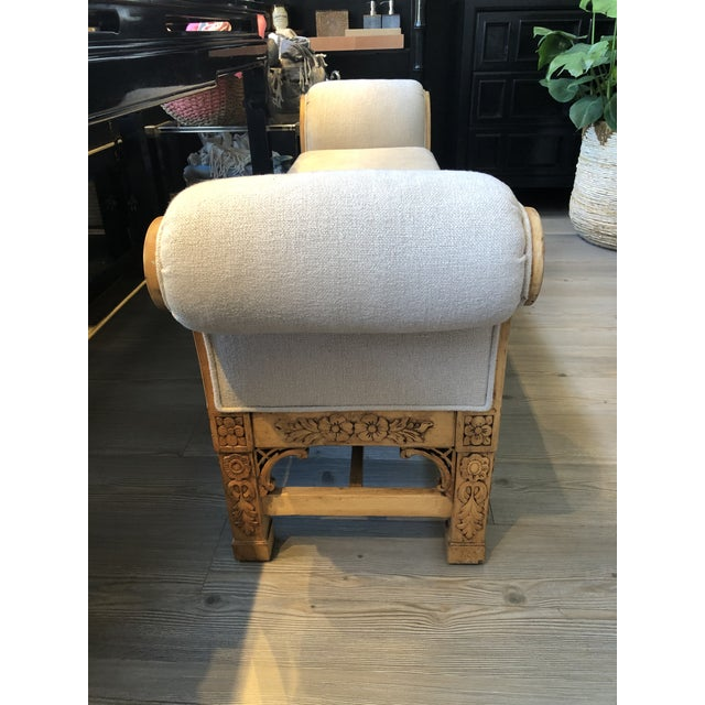 Asian Carved Wood Upholstered Bench For Sale - Image 9 of 10