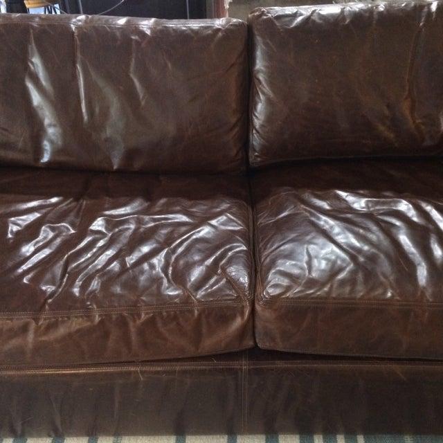 Restoration Hardware Leather Queen Sleeper Sofa - Image 5 of 11