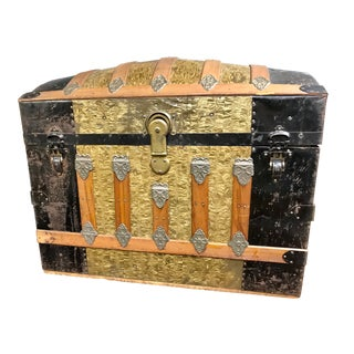 1900s Antique Camelback Trunk With Gold Leaf For Sale