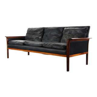 Mid Century Modern Danish Hans Olsen Rosewood Worn Leather Three Seater Sofa For Sale