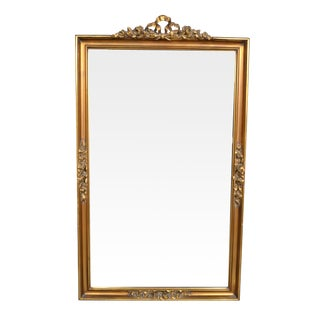 Antique Gilded Hand-Carved Wall Mirror For Sale