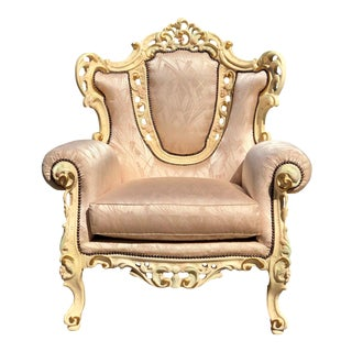 Vintage French Provincial Ornately Carved Wingback Accent Chair For Sale