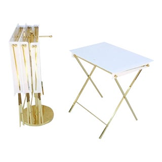 Acrylic and Brass Folding Tray Tables by Charles Hollis Jones - Set of 4 For Sale