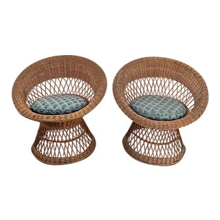 Vintage Boho Chic Wicker Chairs With Seat Cushions-A Pair For Sale