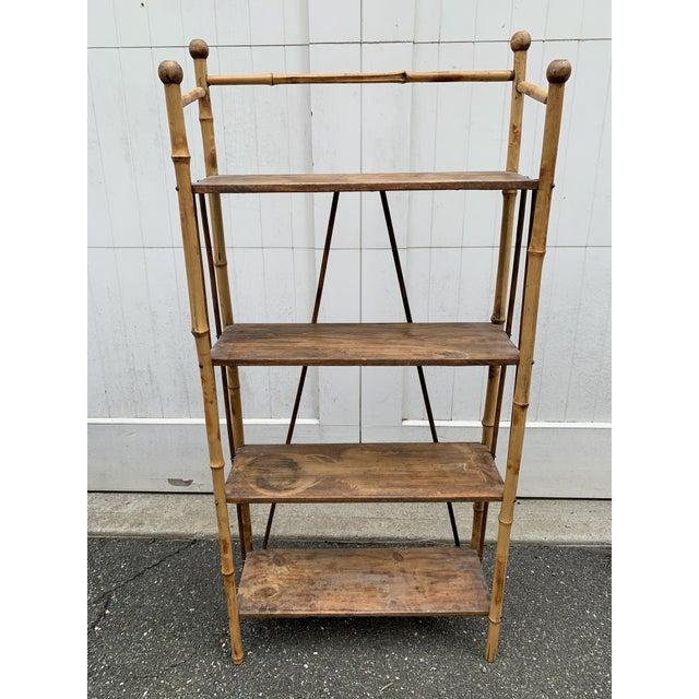 Antique Burnt Bamboo Shelf For Sale - Image 13 of 13