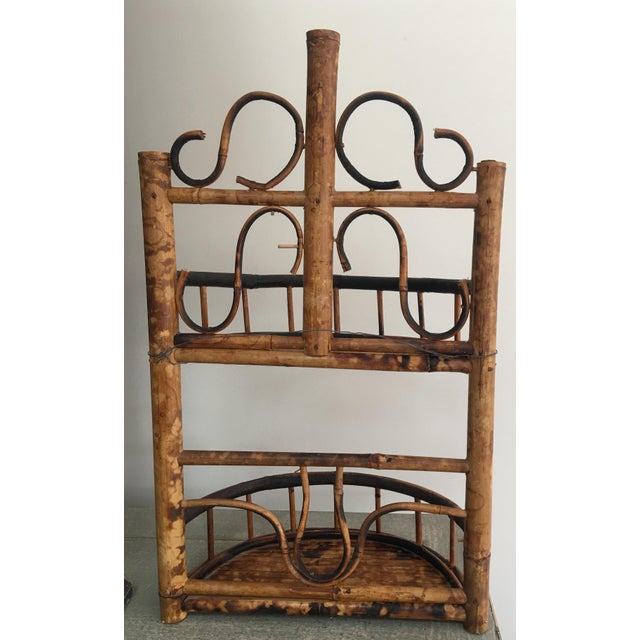 Vintage Chinoiserie Tortoise Shell Burnt Bamboo Wall Shelf For Sale - Image 4 of 10
