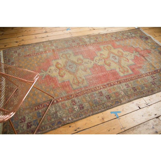 "Vintage Distressed Oushak Rug - 4'7"" x 8'4"" For Sale - Image 4 of 11"