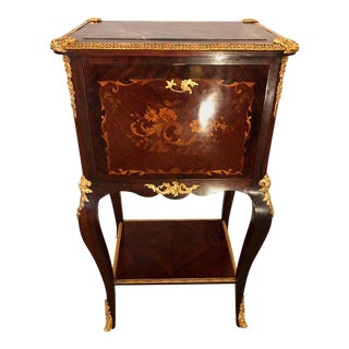 Fine Louis XV Style Bar Cabinet with Gilt Bronze Mounts and Floral Marquetry For Sale