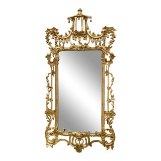 Chinese Chippendale Style Giltwood Mirror For Sale
