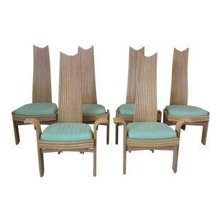 Vintage Florida High Back Rattan Chairs - Set of 6